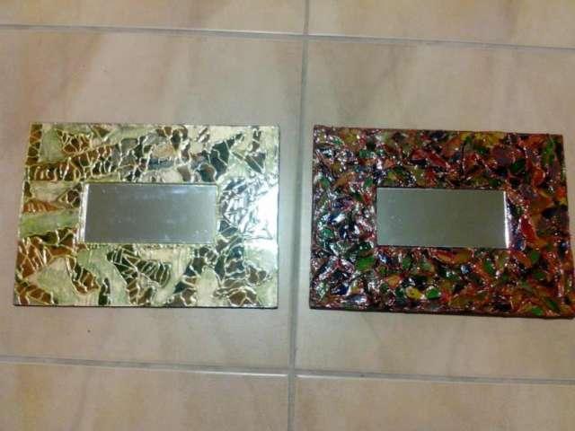 fotos de marcos de espejos pintados a mano